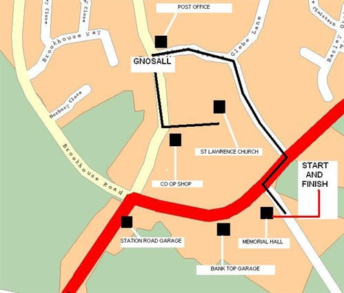 GNOSALL REMEMBRANCE PARADE ROUTE