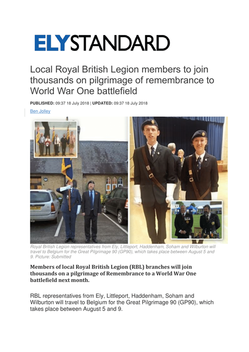 Local Royal British Legion Members To Join Thousands On Pilgrimage Of Remembrance To World War One Battlefield -1