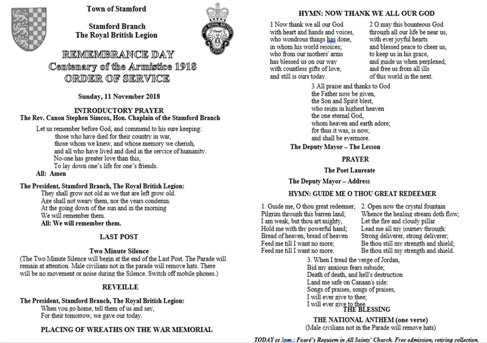 Order Of Service 2018